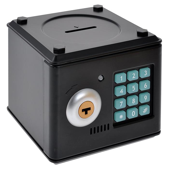 Копилка Сейф с ключом, цвет: черный. 9492720750Копилка Сейф, выполненная из пластика черного цвета, работает как настоящий сейф. Чтобы ее открыть, нужно ввести 4-значный цифровой пароль (настоящий пароль 0000), прокрутить ключ и открыть дверь. Когда дверь открывается или закрывается, горит лампочка и воспроизводится скрипучий звук.Пароль можно сменить. Для этого введите пароль 0000, откройте крышку, удерживайте кнопку * (при этом одновременно загорится лампочка), в течение 15 секунд введите новый пароль, нажмите кнопку # (лампочка перестанет гореть), отпустите кнопку * и закройте дверь. Сейф оснащен отверстием для монет. Внутри можно хранить не только деньги, но и другие ценные вещи. Работает от 3 батареек типа АА (в комплект не входят). Характеристики:Материал: пластик. Цвет: черный. Размер копилки: 13 см х 12 см х 12,5 см. Размер упаковки: 14 см х 15 см х 13 см. Артикул: 94927.
