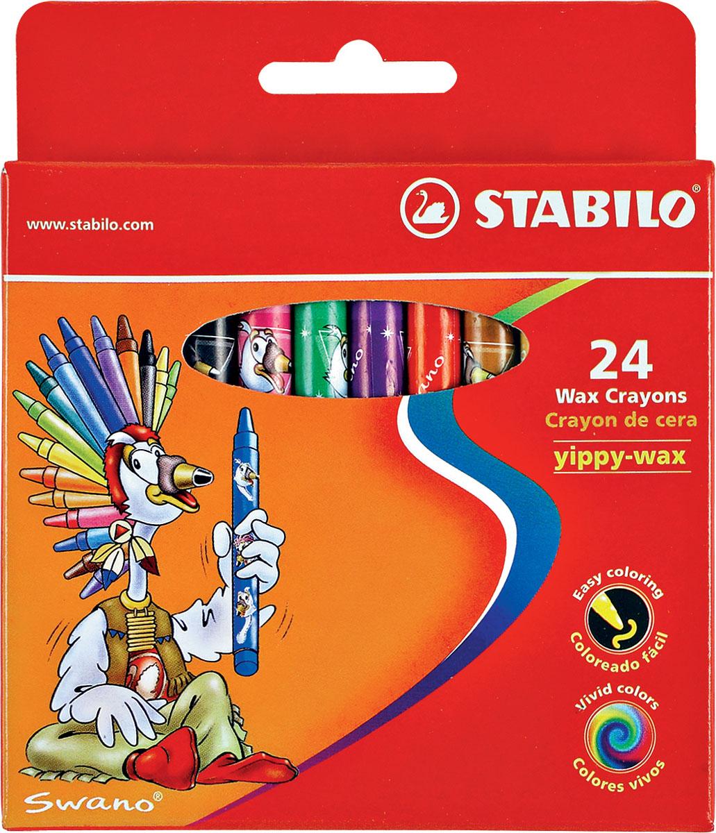Восковые мелки Stabilo Yippy-wax, 24 цветаFS-00102Цветные восковые мелки отличаются необыкновенной яркостью и стойкостью цвета. Легко смешиваются и позволяют создавать огромное количество оттенков. Очень прочные, не крошатся, не ломаются, не образуют пыли, не нуждаются в затачивании. Каждый мелок в индивидуальной бумажной упаковке. Характеристики:Материал:воск. Диаметр мелка:1 см. Длина мелка:9,3 см. Размер упаковки:10,5 см х 12 см х 1,5 см. Изготовитель:Малайзия.
