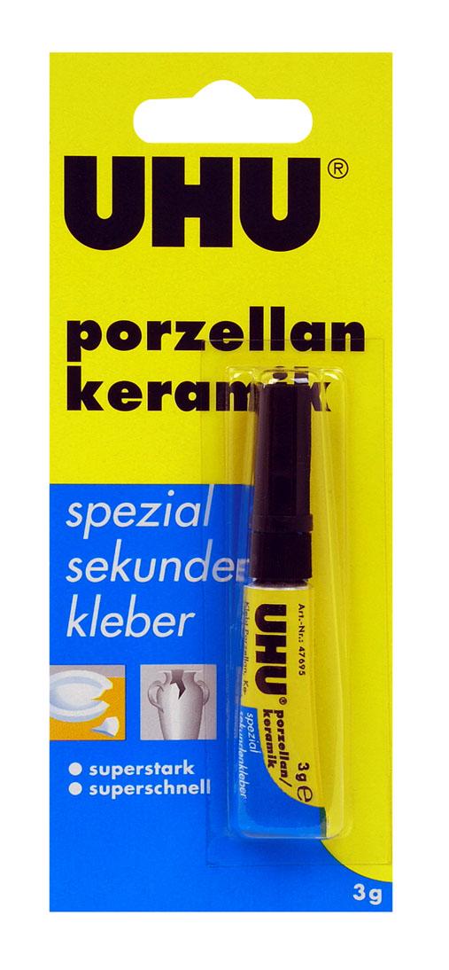 Клей UHU Porzellan для керамики, секундный, 3 г106-026Клей UHU Porzellan подходит в первую очередь для склеивания фарфора, керамики, фаянса и т.п. материалов в сочетании с резиной и деревом, а также твёрдыми материалами с гладкой поверхностью (такими, как, например, твёрдый ПВХ, сталь, железо, прочие металлы и т.д.). Не подходит для стиропора. Клей абсолютно прозрачен, даёт практически невидимое соединение.Выдерживает нагревание вплоть до +80?С - +100?С (низкие температуры – без ограничений).Открытый Клей рекомендуется хранить в прохладном месте.Инструкция по использованию:Предпосылка удачного склеивания – идеально чистая и сухая поверхность. В случае, если материал позволяет это сделать, рекомендуется многократная протирка места склеивания растворителями (ацетоном и т.п.). При склеивании металлов достаточно просто очистить поверхность наждаком или щёткой. Необходимо нанести клей на одну из склеиваемых сторон, вторую сторону тут же прижать к ней. Излишки клея с баночки можно удалить с помощью бумажной салфетки сразу же после использования.Клей схватывает (в зависимости от материала) через несколько секунд либо через несколько минут. Максимальная прочность соединения достигается через 12 часов. Клеевое соединение можно разъединить нагревом до 180 С, а также при долгосрочном воздействии воды либо ацетоном.Высокая влажность ускоряет процесс схватывания, соответственно, при низкой влажности он тормозится. Поэтому для ускорения процесса схватывания на нанесённый клей можно подуть.Для удаления остатков клея используйте ацетон.Клей очень быстро схватывает при повышенной влажности (например, вступая в контакт с потом, кожным жиром, слезой и т.п.), поэтому при работе с ним надо быть крайне осторожным.При попадании на кожу необходимо промывать соответствующее место тепловатой мыльной водой в течение длительного времени, после этого отделить слой клея (не применяя значительного усилия!) и нанести жирный крем на повреждённое место.Если у Вас склеились пальцы, можно подержать их