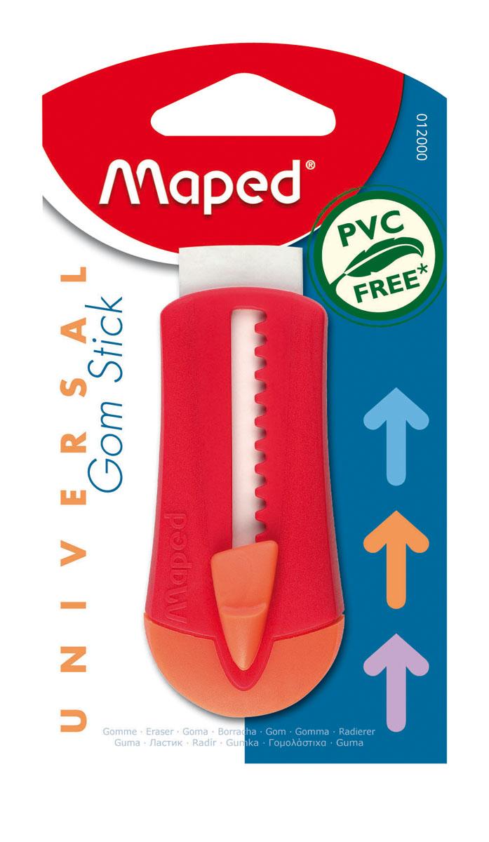 Ластик технический Maped Universal Gom Stick, в футляре, цвет: красный72523WDЛастик технический Maped Universal Gom Stick подходит для стирания карандаша и чернил. Специальный удобный автоматический пластиковый футляр позволит защитит ластик от повреждений. Ластик изготовлен из экологически чистого каучука.