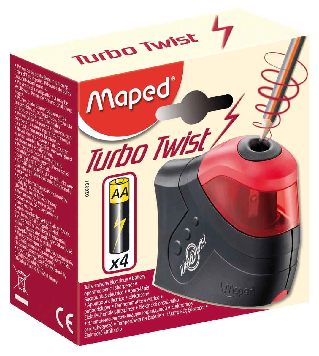 Точилка электрическая Maped Турбо Твист, 1 отверстие, с контейнером026031Точилка Maped Турбо Твист электрическая точилка, работающая от 4 батареек АА (LR6). Оснащена специальным контайнером для стружки. Имеет стальное лезвие высокого качества и два запасных(прикручены рядом с основвным изнутри)Может использоваться как обычная ручная точилка - просто выньте краcную часть.Точилка поставляется без батареек. Характеристики:Материал: пластик, сталь. Размер: 10,5 см х 8 см х 3 см. Размер упаковки: 11 см х 11 см х 4 см. Изготовитель: Китай.