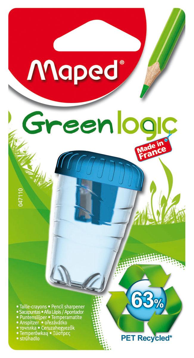 Точилка пластиковая Maped Green Logic, с контейнером, цвет: голубой72523WDТочилка пластиковая Maped Green Logic - это одинарная эргономичная точилка с контейнером, изготовленная из вторичного пластика (переработанные пластиковые бутылки). Неломающаяся.Имеет экологичную упаковку: блистерная основа на 95% из вторичного картона, а блистерное покрытие из вторичного пластика. Сделано во Франции. Характеристики:Размер: 3 см x 4,5 см x 4,5 см. Материал: пластик, металл. Изготовитель: Франция.