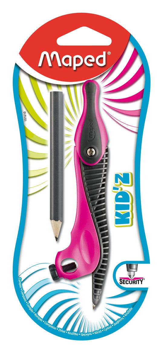 Циркуль Maped Kidz пластиковый, универсальный, цвет: черный, розовый191610Циркуль Maped Kidz - обучающий циркуль с ярким вдохновляющим дизайном, решающий все проблемы с безопасностью и эргономикой, с которыми сталкиваются дети в процессе обучения. Эргономичный дизайн разработан специально для комфортного обучения. Нескользящий держатель выполнен из двойного материала. В комплекте имеется карандаш. Характеристики:Материал: пластик, металл. Длина карандаша: 8,5 см. Размер циркуля: 13 см х 3 см х 1,5 см.