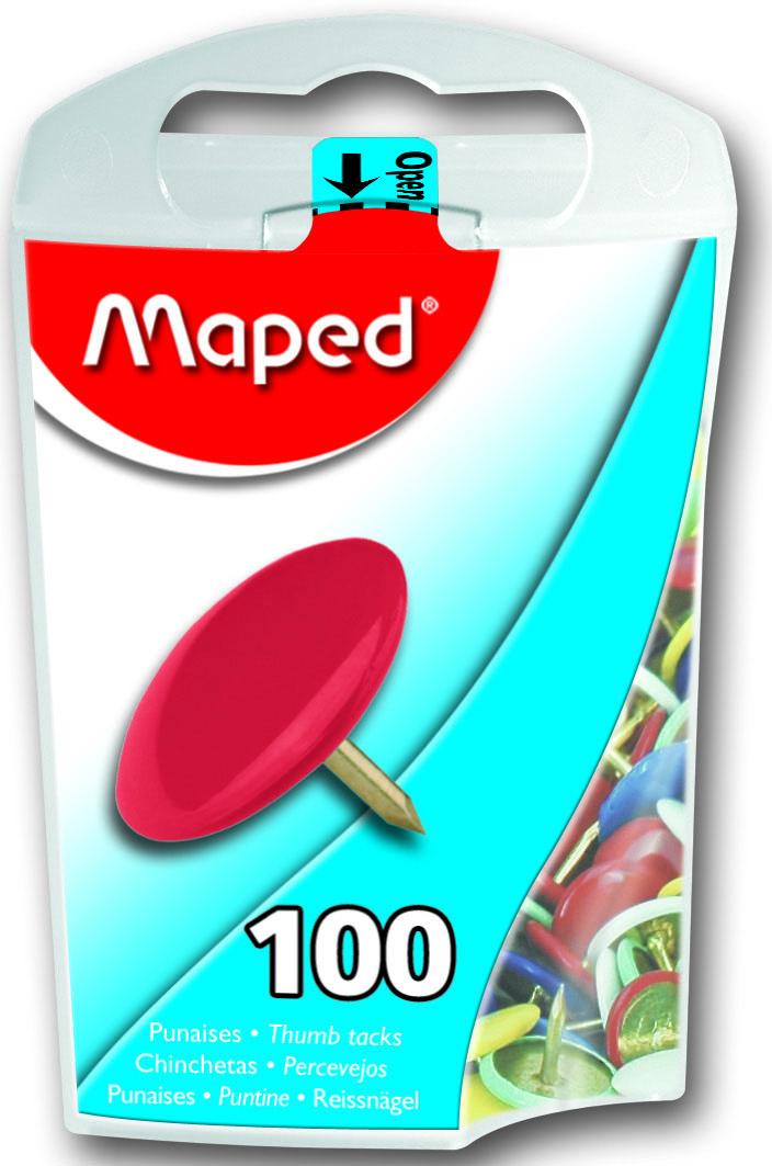 """Круглые металлические цветные кнопки """"Maped"""" применяются для крепления информации к пробковым доскам и другим поверхностям. Кнопки упакованы в прозрачную пластиковую коробку."""