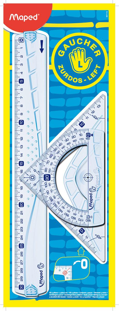 Набор геометрический Maped Геометрик, для левшей, 3 предметаFS-36054Геометрический набор Maped Геометрик для левшей, выполненный из прозрачного пластика сиреневого цвета содержит все, что может понадобиться ученику на уроках математики.Набор состоит из трех предметов: линейки на 30 сантиметров, транспортира на 180° и угольника. Угольник имеет углы 45, 45, 90 градусов и линейку на 14,5 сантиметров.Каждый чертежный инструмент имеет свои функциональные особенности, ориентированные специально на левшей. Характеристики:Материал: пластик. Размер упаковки: 13 см х 36 см х 0,6 см. Изготовитель: Китай.