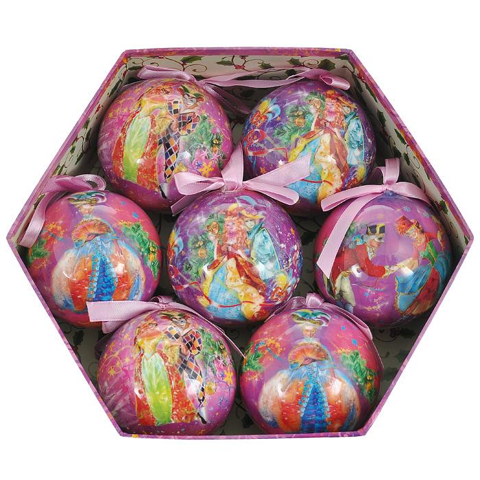 Набор новогодних подвесных украшений Маскарад, 7 шт. 20149NN-612-LS-PLНабор подвесных украшений Маскарад состоит из семи новогодних шаров. Украшения выполнены из пластика в виде шаров, декорированных ручной художественной росписью и покрытых лаком. Благодаря плотному корпусу изделия никогда не разобьются, поэтому вы можете быть уверены, что они прослужат вам долгие годы. На каждом шарике из набора изображены сценки из маскарада. Такой набор елочных игрушек может стать отличным и незабываемым подарком.Набор упакован в подарочную шестиугольную коробку.Откройте для себя удивительный мир сказок и грез. Почувствуйте волшебные минуты ожидания праздника, создайте новогоднее настроение вашим дорогими близким. Характеристики:Материал: пластик, текстиль. Диаметр шара: 7,5 см. Размер упаковки:25 см х 22 см х 8 см. Артикул: 20149. Изготовитель: Китай. Компания Незабудка занимается продажей новогодних украшений и детских игрушек. Большинство украшений сделано по собственным дизайн - проектам. Шары, луковки, сосульки, выполненные как в классических расцветках, так и в современных дизайнерских решениях - великолепные цветочные орнаменты, с иллюстрациями к русским сказкам. В ассортименте компании так же представлены украшения для комнатных елей, праздничного убранства офисов, крупные игрушки для больших елей и оформления торговых центров. Эти украшения изготовлены из современных экологически безопасных искусственных материалов.