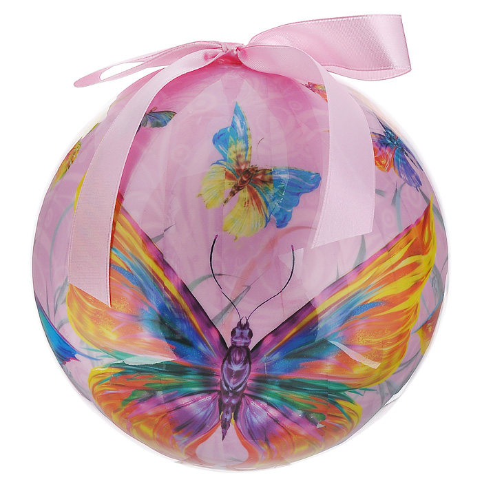 Елочное украшение Шар. Бабочки, диаметр 15 см. 2032909840-20.000.00Оригинальное подвесное украшение Шар. Бабочки прекрасно подойдет для праздничного декора дома и новогодней ели. Украшение, выполненное из пластмассы, оформлено красочным изображением разноцветных бабочек. Благодаря плотному корпусу изделие никогда не разобьется, поэтому вы можете быть уверены, что оно прослужит вам долгие годы. С помощью атласной ленточки розового цвета украшение можно повесить в любое понравившееся место. Но удачнее всего оно будет смотреться на новогодней елке.Елочная игрушка - символ Нового года. Она несет в себе волшебство и красоту праздника. Создайте в своем доме атмосферу веселья и радости, украшая новогоднюю елку нарядными игрушками, которые будут из года в год накапливать теплоту воспоминаний.Характеристики:Материал: пластмасса (вспененный полистирол), текстиль. Диаметр шара: 15 см. Размер упаковки: 15 см х 15 см х 15,5 см. Производитель: Россия. Изготовитель: Китай. Артикул: 20329.