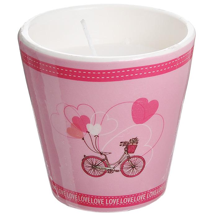 Декоративный подсвечник Велосипед, со свечой, цвет: розовый. 31304