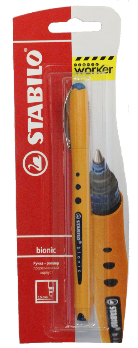 Роллер Stabilo Bionic Worker, цвет чернил: синий22033Необычный, стильный дизайн и яркая расцветка отличают этот роллер от скучных и безликих офисных ручек. Мягкая и приятная на ощупь поверхность покрывает весь корпус, что создает дополнительный комфорт при письме и предотвращает скольжение пальцев. Эта ручка незаменима для тех, кто много пишет, так как обеспечивает приятное, расслабляющее письмо. Вакуумная система подачи жидких чернил и высококачественный пишущий узел гарантируют длительное и аккуратное письмо. Валик-фиксатор предотвращает скатывание ручки со стола. Толщина линии 0,5. Характеристики:Материал:пластик. Толщина линии:0,5 см. Длина ручки:14,5 см. Размер упаковки:20,5 см х 6,5 см х 1,8 см. Изготовитель:Малайзия.