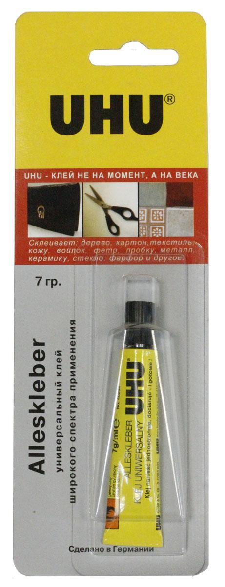 Клей универсальный UHU Alleskleber, 7 г1438486Клей UHU Alleskleber - универсальный прозрачный клей на основе синтетической смолы. Склеивает фарфор, дерево, металл, стекло, керамику, плексиглас, войлок, кору, пробку, картон, бумагу. Клей устойчив к воде, неконцентрированным кислотам и щелочам, маслу, бензину. Неустойчив к спирту, кетону (ацетону), ацетатным растворителям (в том числе нитрорастворителям) и ароматическим растворителям (толуолу, ксилолу и т.д.).Выдерживает краткосрочное нагревание+120 °С.Идеальный лей для хозяйственных и ремонтных работ, хобби, моделирования.Инструкция по применению:Склеиваемые поверхности должны быть чистыми, сухими и обезжиренными. Необходимо нанести тонкий слой клея на одну из сторон; если нужно, откорректировать положение и тут же (не позднее, чем через пару минут после нанесения) совместить их друг с другом. Чтобы склеить 2 невпитывающие поверхности (керамику, металл, стекло и т.д.) наносите клей на обе стороны. 2/3 плотности сцепления будут достигнуты через 24 часа. Характеристики:Объем: 7 г. Размер упаковки: 20 см х 7 см х 2 см.