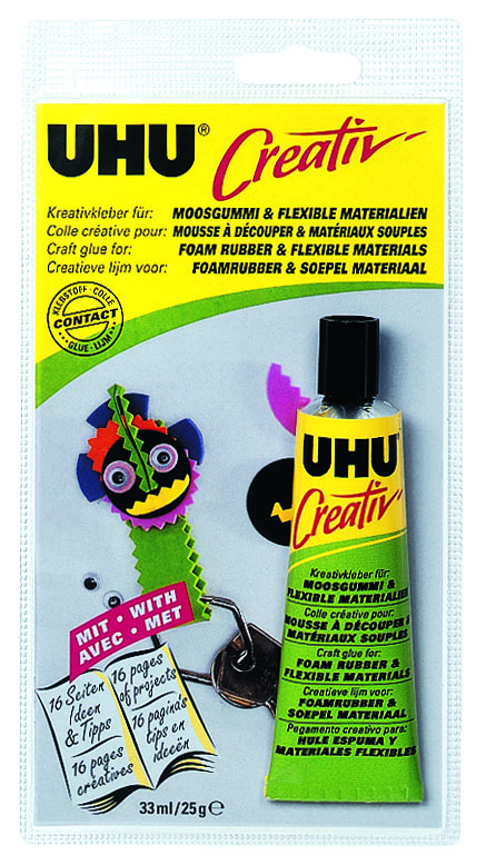 Клей UHU Creativ для пенорезины и эластичных материалов, 33 млK24921 (SG-1)Клей UHU Creativ - контактный клей для склеивания разных сортов пенопласта (например, стиропора), и других эластичных материалов, например, кожи, материалов с пленочным покрытием (плюш, ленты), натурального каучука, мягких пластмасс, в том числе в комбинации с другими материалами.Состав клея не агрессивен по отношению к разным сортам пенопласта. Клей нейтрален, устойчив к воздействию воды, при высыхании становится практически бесцветным. Может быть удален легким бензином.Идеален для изготовления коллажей и объектов из пенорезины, лоскутных работ, создания кукол и марионеток, упаковки подарков.Инструкция по применению:Склеиваемые поверхности должны быть чистыми, сухими и обезжиренными. Нанесите Клей на обе поверхности и оставьте подсохнуть его до тех пор, пока он не прекратит прилипать к пальцам (это займёт от 5 до 20 минут в зависимости от материала). После этого просто прижмите склеиваемые поверхности друг к другу. Остатки клея можно удалить с помощью лёгкого бензина. Характеристики:Объем: 33 мл. Размер упаковки: 19 см х 9,5 см х 3 см.