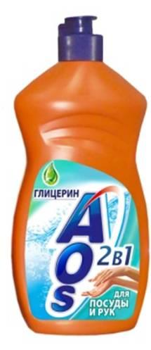 Жидкость для мытья посуды AOS Глицерин, 500 мл бытовая химия aos средство для мытья посуды 2 в 1 глицерин 1 л