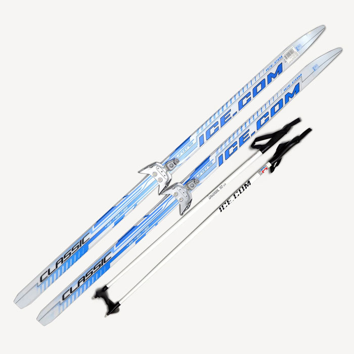 Лыжный комплект Ice.com Classic step, цвет: синий, крепление 75 мм. Длина 160 смCLS75P 150Лыжный комплект Ice.com Classic step (с насечкой) предназначен для активного катания и прогулок по лыжне как классическим стилем, так и коньковым (свободным) ходом. Особенности:Скользящая поверхность из экструдированного полиэстера;Облегченный деревянный клин c воздушными каналами;Модель со степ насечкой, не требующей нанесения мазей;Палки 100% углеволокно;Крепление 75 мм. Характеристики:Длина лыжи: 160 см. Геометрия: 46-46-46. Длина палок: 110 см. Крепления: 75 мм. Материал: пластик, дерево, углеволокно. Цвет: синий. Размер упаковки: 160 см х 12 см х 15 см.