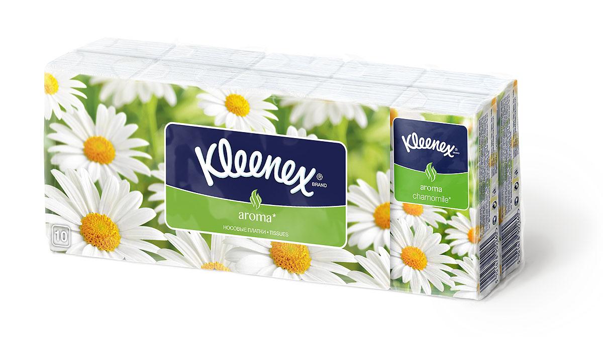 Kleenex Бумажные платочки Ромашка, ароматизированные, 10 х 10 шт3466Мягкие платочки Kleenex с приятным запахом ромашки напомнят вам о лете и помогут бороться со стрессами и плохим настроением. Характеристики:Количество: 10 х 10 шт. Размер платка: 21 см х 20 см. Артикул: 9470130. Производитель: Венгрия.