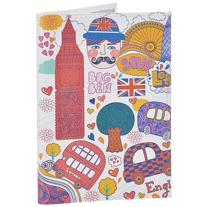 Обложка для паспорта Красочный Лондон. OK22854019-1A-444AОбложка для паспорта Mitya Veselkov, выполненная из натуральной кожи, оформлена изображением достопримечательностей Лондона. Такая обложка не только поможет сохранить внешний вид ваших документов и защитит их от повреждений, но и станет стильным аксессуаром, идеально подходящим вашему образу. Яркая и оригинальная обложка подчеркнет вашу индивидуальность и изысканный вкус. Обложка для паспорта стильного дизайна может быть достойным и оригинальным подарком.Характеристики:Материал: натуральная кожа, пластик. Размер (в сложенном виде): 9,5 см х 13,5 см. Артикул: OK228.