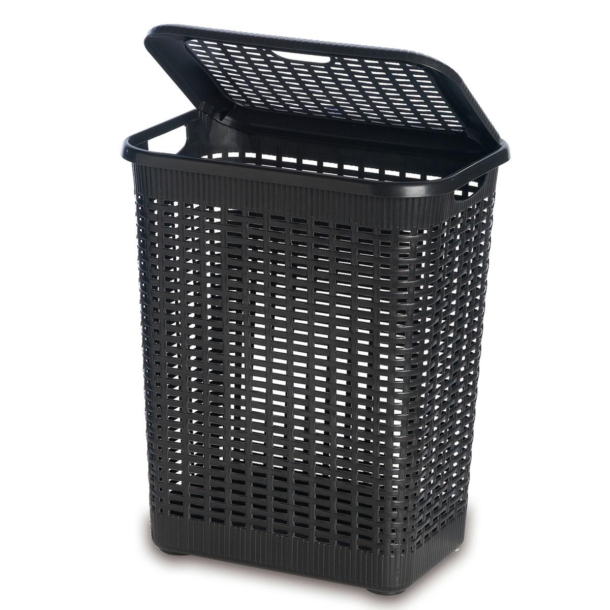 Корзина хозяйственная Rattan, 50 л, цвет: темно-коричневыйRG-D31SПрямоугольная корзина Rattan изготовлена из прочного пластика темно-коричневого цвета. Она предназначена для хранения мелочей в ванной, на кухне, даче или гараже. Позволяет хранить мелкие вещи, исключая возможность их потери. Корзина с отверстиями на стенках и крышке в виде плетения и со сплошным дном. Корзина имеет плотно закрывающуюся съемную крышку. Сбоку имеются две ручки для удобной переноски. Характеристики:Материал: пластик. Цвет: темно-коричневый. Объем корзины:50 л. Размер корзины (Ш х Д х В):56 см х 42 см х 29 см. Размер упаковки (Ш х Д х В):56 см х 42 см х 29 см.