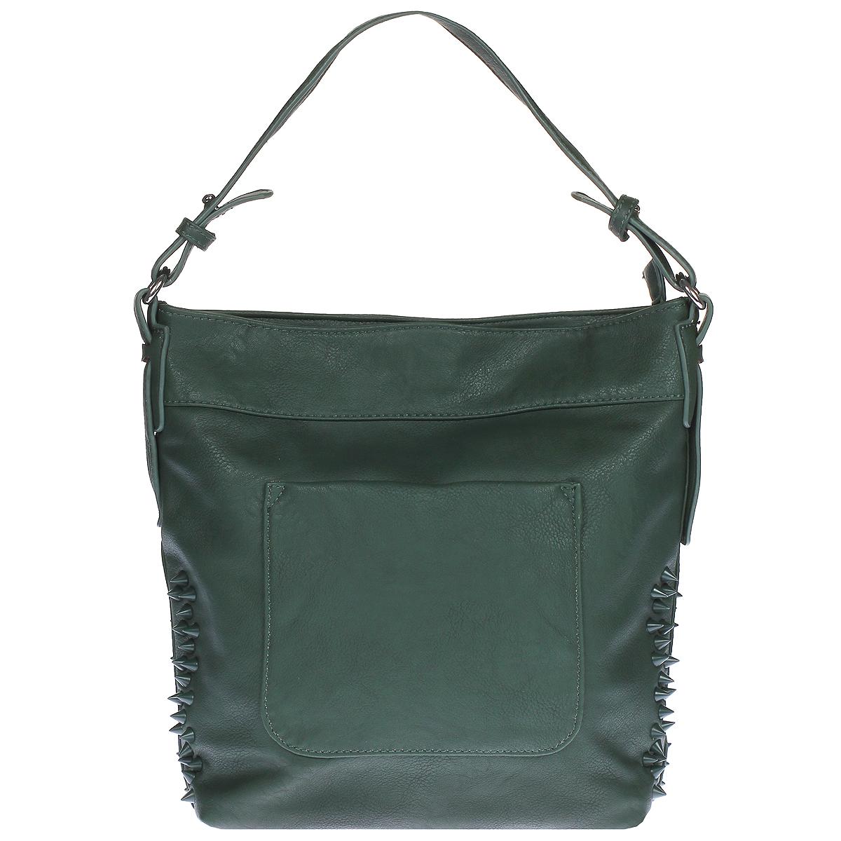 Сумка женская Orsa Oro, цвет: зеленый. D-757S76245Женская сумка Orsa Oro выполнена из искусственной кожи зеленого цвета.Сумка состоит из одного вместительного отделения, которое закрывается на застежку-молнию. Внутри - вшитый карман на молнии и два накладных кармана, один из которых предназначен для телефона, другой - для прочих мелочей. По бокам сумка декорирована пластиковыми шипами. На задней стороне сумки также расположен вшитый карман на молнии. На лицевой стороне сумки имеется дополнительный карман закрывающийся на магнитную кнопку. Сумка оснащена удобной ручкой и съемным регулирующим длину плечевым ремнем.К сумке прилагается чехол для хранения.Сумка - это стильный аксессуар, который подчеркнет вашу изысканность и индивидуальность и сделает ваш образ завершенным. Характеристики:Материал: искусственная кожа, текстиль, металл. Размер сумки: 30 см х 30 см х 8 см. Высота ручек: 15 см. Длина плечевого ремня: 80 см. Цвет: зеленый. Производитель: Россия. Артикул: D-757.