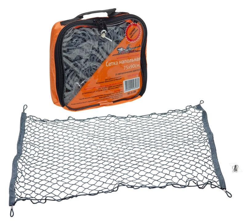 AIRLINE Cетка напольная, 75 х 90 см, 4 крючкаUdd500leНапольные сетки надежно прижимают груз к полу багажника, что исключает перемещение груза, в результате отсутствует шум, обычно возникающий при движении автомобиля. Характеристики:Материал: металл, резина, текстиль. Количество крючков: 4 шт. Размер сетки: 75 см х 90 см. Размер упаковки: 20 см х 17 см х 5 см.
