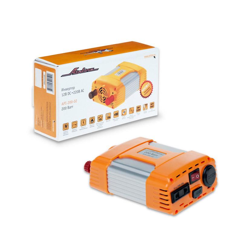 Автомобильный инвертор Airline API-200-02, 200 Вт11279Максимальный пик мощности для данного автомобильного преобразователя энергии составляет 400Вт, а длительная рабочая мощность – 200Вт. Инвертор подключается к прикуривателю автомобиля и преобразовывает входное напряжение, получаемое от авто, мощностью 12В. Активизация изделия производится путем подключения соединительных проводов, идущих в комплекте с инвертором.В инверторы встроено гнездо USB 5В для питания и зарядки мобильных устройств и гнездо прикуривателя для подключения устройств с питанием 12 вольт.Размеры устройства (Д х Ш х В): 14 см х 11 см х 55 см. Размер упаковки (Д х Ш х В): 21 см х 12 см х 7 см. Выходная номинальная мощность: 200 Вт Выходная максимальная мощность: 400 Вт Диапазон входного напряжения: 10-15 В Напряжение на выходе: 220 В Частота на выходе: 50 Гц Напряжение на выходе для порта USB: 5 В Ток на выходе для порта USB: 500 мА Выключение при превышении допустимого входного напряжения: 15 В Изготовитель:Китай. Защитные схемы:- Защита от низкого напряжения на входе - Защита от избыточного напряжения на входе - Защита от перегрузки - Защита от короткого замыкания