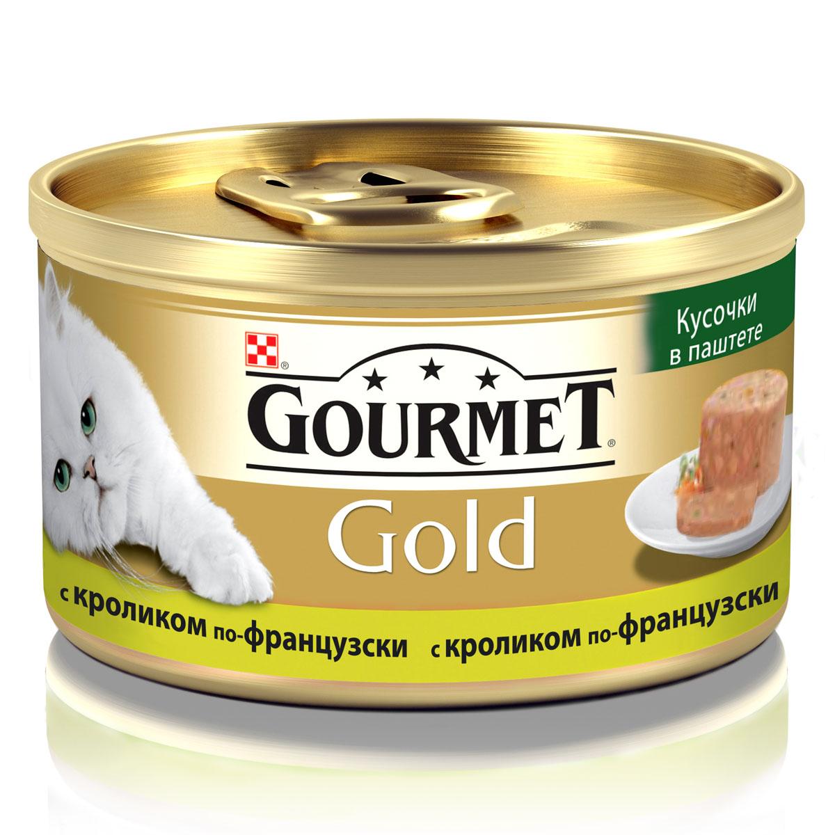 Консервы для кошек Gourmet Gold, кусочки в паштете с кроликом по-французски, 85 г5350Корм Gourmet Gold консервированный полнорационный для взрослых кошек, с кроликом по-французски. Рекомендации по кормлению: для взрослой кошки среднего веса (4 кг) требуется 3 баночки корма Gourmet Gold в день. Кормление необходимо разделить минимум на два приема. Индивидуальные потребности животного могут отличаться, поэтому норма кормления должна быть скорректирована для поддержания оптимального веса вашей кошки. Для беременных и кормящих кошек - кормление без ограничений. Подавать корм комнатной температуры.Следите, чтобы у вашей кошки всегда была чистая, свежая питьевая вода.Условия хранения: Закрытую банку хранить в сухом прохладном месте. После открытия продукт хранить максимум 24 часа. Состав: мясо и мясные субпродукты (из которых кролика 4%), минеральные вещества, сахара, продукты переработки растительного сырья, витамины, консерванты.Гарантируемые показатели: влажность 76,0%, белок 12,5 %, жир 5,5 %, сырая зола 2,5 %, сырая клетчатка 0,01 %.Добавленные вещества: МЕ/кг: витамин A: 870; витамин D3: 130. мг/кг: железо: 31; йод:0,38; медь: 3,5; марганец: 6,05; цинк: 50.Вес: 85 г.Товар сертифицирован.