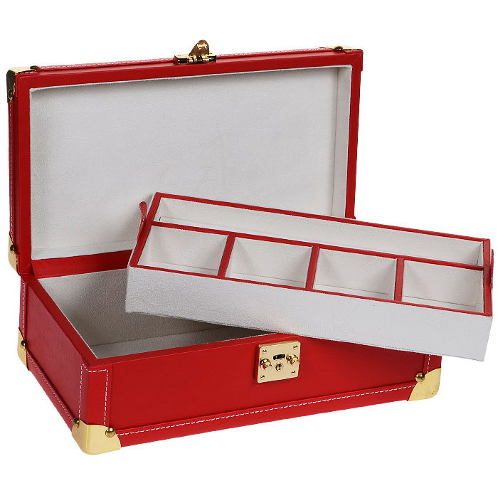 Шкатулка для украшений H8506, цвет: красный10850/1W GOLD IVORYШкатулка для украшений, выполненная в виде сундучка из искусственной кожи красного цвета, декорирована контрастной отстрочкой и золотистыми металлическими вставками на углах шкатулки. Внутри шкатулка имеет вместительное отделение, содержащее съемное отделение с отсеками для украшений. Съемное отделение содержит: четыре отсека для украшений и мелкой бижутерии и отсек с резинками для цепочек. Внутренняя поверхность отделана искусственной замшей белого цвета. Шкатулка закрывается на металлический замок с ключиком (входит в комплект). Великолепная шкатулка для ювелирных украшений не оставит равнодушной ни одну любительницу изысканных вещей. Сочетание оригинального дизайна и функциональности сделает такую шкатулку практичным, стильным подарком и предметом гордости ее обладательницы. Характеристики:Материал: искусственная кожа, металл, текстиль. Цвет: красный. Размер шкатулки (в закрытом виде): 34 см х 18 см х 12 см. Размер упаковки: 35 см х 13 см х 20 см. Артикул: H8506.