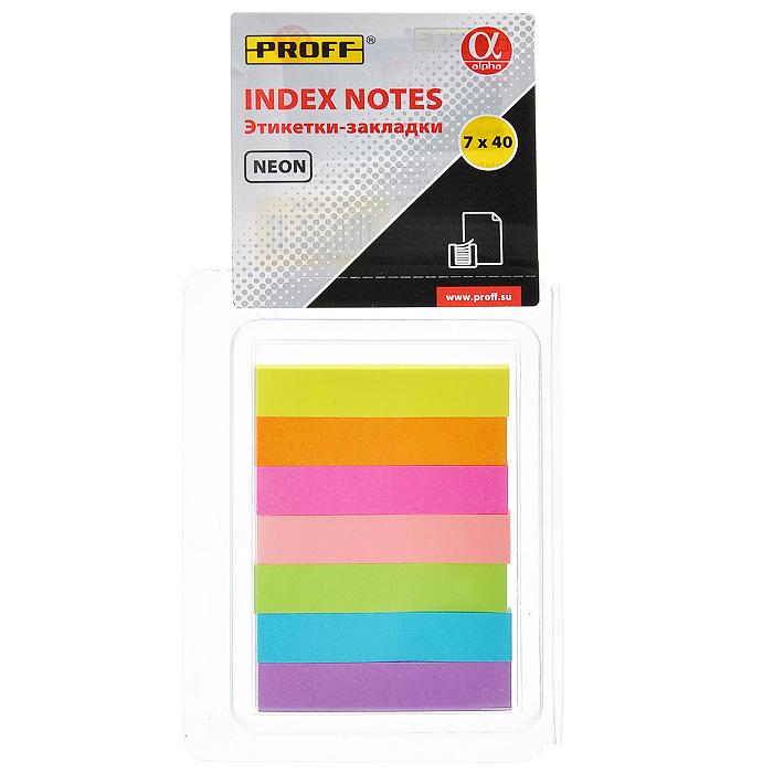 """Многоразовые бумажные закладки-этикетки Proff """"Alpha"""" - эффективный способ выделить важную информацию без повреждения поверхности документа или книги. Набор состоит из закладок семи неоновых цветов."""