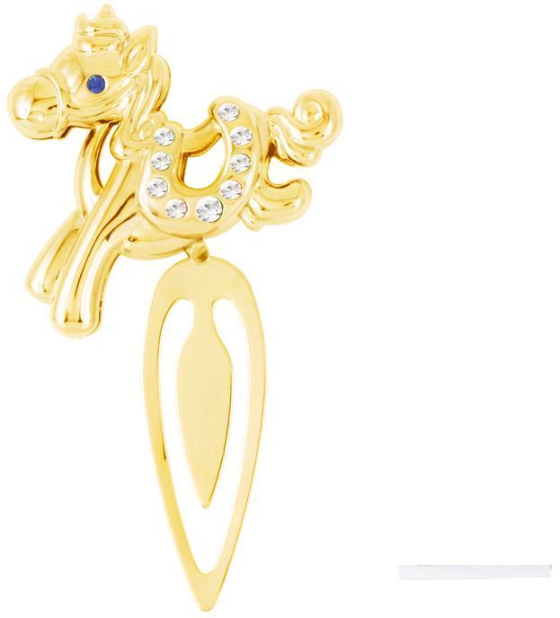 Закладка Crystocraft Лошадка, цвет: золотистый002627Изящная закладка золотистого цвета оформлена миниатюрной фигуркой в виде лошадки. Кристаллы, украшающие фигурку, носят громкое имя Swarovski. Ограненные, как бриллианты, кристаллы блистают сотнями тысяч различных оттенков.Эта очаровательная вещь послужит отличным подарком близкому человеку, родственнику или другу, а также подарит приятные мгновения и окунет вас в лучшие воспоминания. Характеристики:Материал: сталь, австрийские кристаллы. Размер закладки:4,5 см х 8,5 см х 1 см. Цвет: золотистый. Размер упаковки: 7 см х 14 см х 2 см. Артикул: U0401-163-GC1A. Более чем 30 лет назад компанияCrystocraftвыросла из ведущего производителя в перспективную торговую марку, которая задает тенденцию благодаря безупречному чувству красоты и стиля. Компания создает изящные, качественные, яркие сувениры, декорированные кристалламиSwarovskiразличных размеров и оттенков, сочетающие в себе превосходное мастерство обработки металлов и самое высокое качество кристаллов. Каждое изделие оформлено в индивидуальной подарочной упаковке, что придает ему завершенный и презентабельный вид.