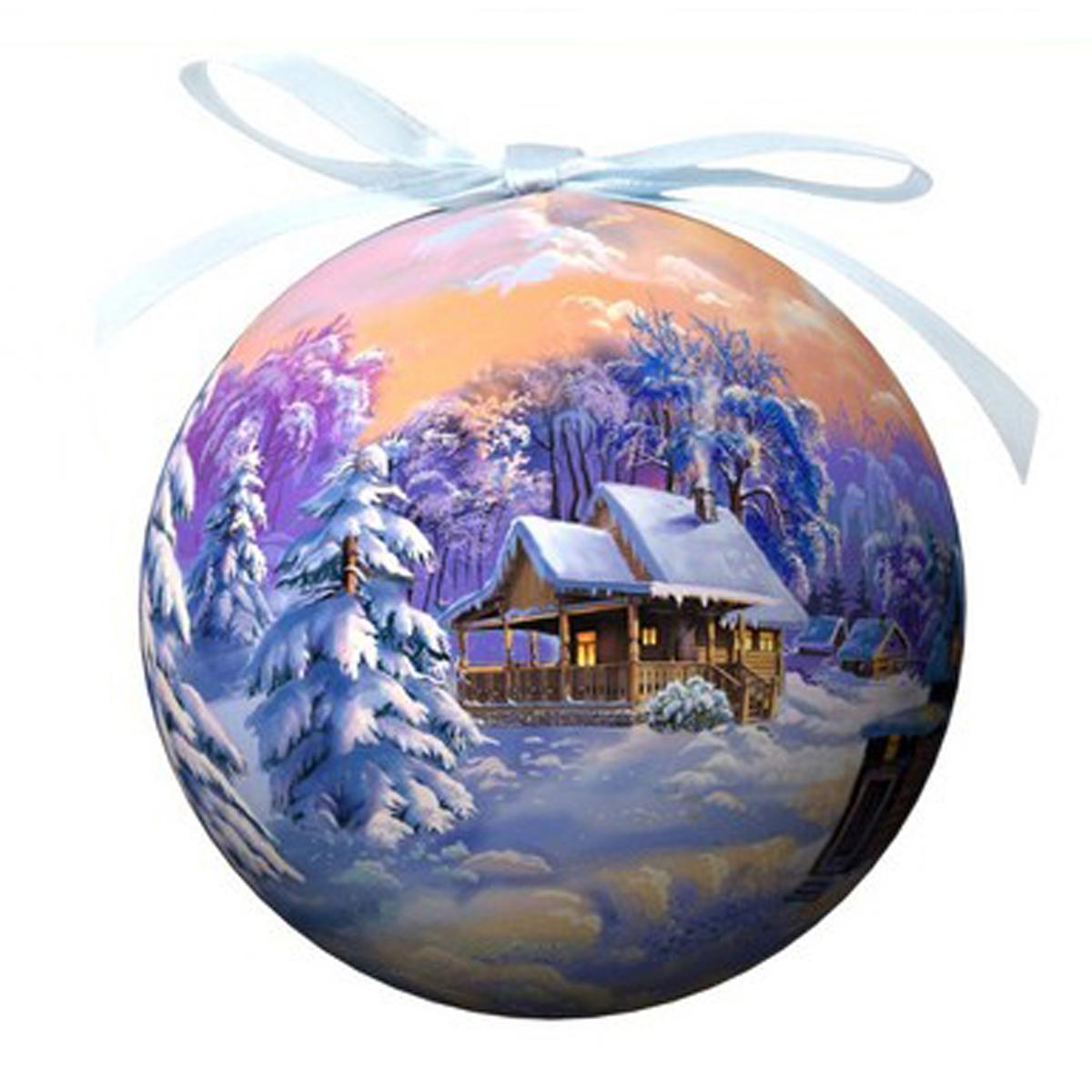 Елочное украшение Шар. Зимний пейзаж, диаметр 10 см. 20318K100Оригинальное подвесное украшение Шар. Зимний пейзаж прекрасно подойдет для праздничного декора дома и новогодней ели. Шар, выполненный из пластмассы, оформлен красочным изображением зимней природы. Благодаря плотному корпусу изделие никогда не разобьется, поэтому вы можете быть уверены, что оно прослужит вам долгие годы. С помощью атласной ленточки фиолетового цвета украшение можно повесить на новогоднюю елку. Елочная игрушка - символ Нового года. Она несет в себе волшебство и красоту праздника. Создайте в своем доме атмосферу веселья и радости, украшая новогоднюю елку нарядными игрушками, которые будут из года в год накапливать теплоту воспоминаний. Характеристики:Материал: пластмасса (вспененный полистирол), текстиль. Диаметр шара: 10 см. Размер упаковки: 11 см х 11 см х 14,5 см. Производитель: Россия. Изготовитель: Китай. Артикул: 20318.