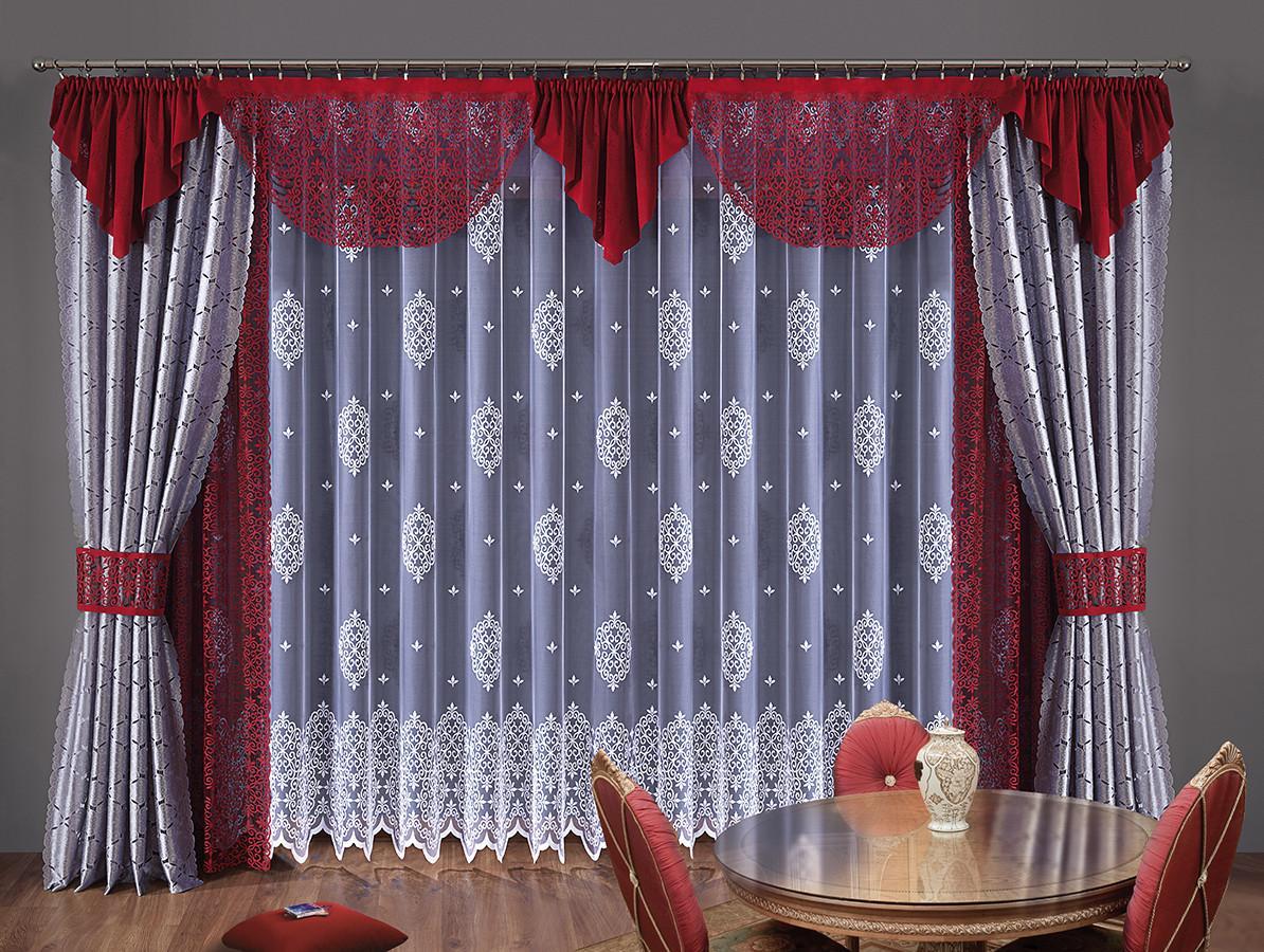 Комплект штор Toscania, на ленте, цвет: белый, стальной, бордо, высота 250 смK100Комплект штор Toscania великолепно украсит любое окно. Комплект состоит из двух штор стального цвета, двух штор бордового цвета, белого тюля и бордового ламбрекена. Для более изящного расположения штор предусмотрены подхваты. Изделия выполнены из полиэстера с кружевными узорами.Тонкое плетение, оригинальный дизайн и контрастная цветовая гамма привлекут к себе внимание и органично впишутся в интерьер комнаты. Все предметы комплекта оснащены шторной лентой для собирания в сборки. Характеристики:Материал: 100% полиэстер. Цвет: белый, стальной, бордо. Размер упаковки: 25 см х 35 см х 15 см. Артикул: W006. В комплект входит: Штора - 4 шт. Размер (ШхВ): 140 см х 250 см. Тюль - 1 шт. Размер (ШхВ): 500 см х 250 см. Ламбрекен - 1 шт. Размер (ШхВ): 630 см х 60 см. Подхват - 2 шт. Фирма Wisan на польском рынке существует уже более пятидесяти лет и является одной из лучших польских фабрик по производству штор и тканей. Ассортимент фирмы представлен готовыми комплектами штор для гостиной, детской, кухни, а также текстилем для кухни (скатерти, салфетки, дорожки, кухонные занавески). Модельный ряд отличает оригинальный дизайн, высокое качество. Ассортимент продукции постоянно пополняется.