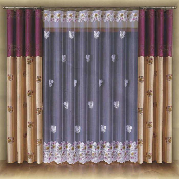 Комплект штор Wisan Parma, на ленте, цвет: кремовый, бордовый, высота 250 смW014 крем/бордоКомплект штор Wisan Parma, выполненный из полиэстера, великолепно украсит любое окно. Комплект состоит из двух штор и тюля. Шторы выполнены из плотной ткани бордово-кремового цвета и декорированы цветочным узором. Белый полупрозрачный тюль украшен цветным цветочным рисунком.Нежная воздушная текстура, оригинальный дизайн и нежная цветовая гамма привлекут к себе внимание и органично впишутся в интерьер комнаты. Все предметы комплекта - на шторной ленте для собирания в сборки. Характеристики: Материал: 100% полиэстер. Цвет: кремовый, бордовый. Размер упаковки: 39 см х 26 см х 11 см. Артикул: W014.В комплект входят: Штора - 2 шт. Размер (Ш х В): 140 см х 250 см. Тюль - 1 шт. Размер (Ш х В): 500 см х 250 см. Фирма Wisan на польском рынке существует уже более пятидесяти лет и является одной из лучших польских фабрик по производству штор и тканей. Ассортимент фирмы представлен готовыми комплектами штор для гостиной, детской, кухни, а также текстилем для кухни (скатерти, салфетки, дорожки, кухонные занавески). Модельный ряд отличает оригинальный дизайн, высокое качество. Ассортимент продукции постоянно пополняется.
