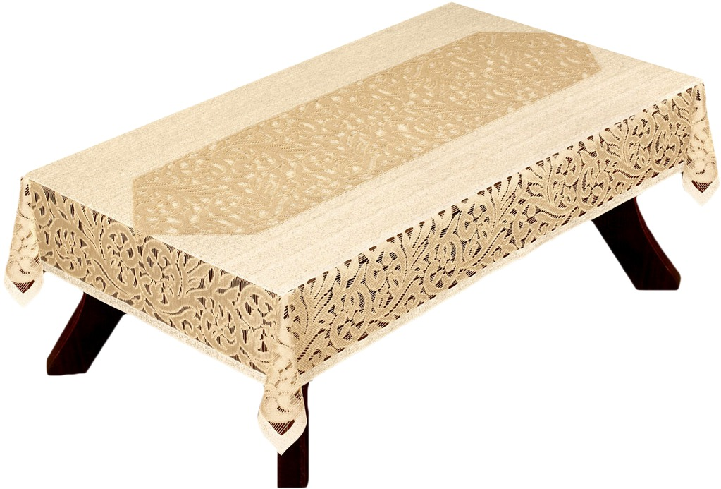 Набор Haft: скатерть, дорожка, цвет: кремовый. 200910/1003162119154Набор Haft состоит из скатерти и дорожки, выполненных из полиэстера кремового цвета. Скатерть прямоугольной формы изготовлена из сетчатого материала с ажурным рисунком по краям. Дорожка прямоугольной формы с треугольными краями также выполнена из ажурного материала. Дорожка пригодится для декорирования стола. Кроме этого, благодаря такой дорожке вы защитите поверхность стола от воды, пятен и механических воздействий, а также создадите атмосферу уюта и домашнего тепла в интерьере вашей кухни или комнаты. Набор Haft органично впишется в интерьер любого помещения, а оригинальный дизайн удовлетворит даже самый изысканный вкус. Характеристики: Материал: 100% полиэстер. Размер скатерти: 100 см х 150 см. Размер дорожки: 30 см х 120 см. Цвет: кремовый. Производитель: Польша. Артикул: 200910/100.