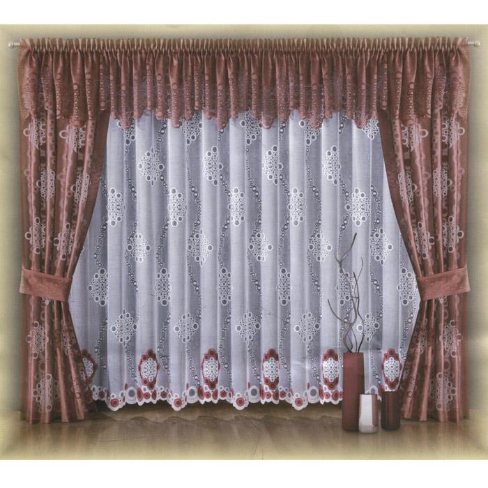 Комплект штор Wisan Waleria, на ленте, цвет: бордовый, высота 250 смSVC-300Роскошный комплект штор Wisan Waleria, выполненный из полиэстера, великолепно украсит любое окно. Комплект состоит из двух штор, тюля, ламбрекена и двух подхватов. Шторы, ламбрекен и подхваты выполнены из легкой полупрозрачной ткани бордового цвета с абстрактным узором. Белый тюль декорирован белым и бордовым абстрактным рисунком. Тонкое плетение, оригинальный дизайн и нежная цветовая гамма привлекут к себе внимание и органично впишутся в интерьер комнаты. Все предметы комплекта - на шторной ленте для собирания в сборки. Характеристики: Материал: 100% полиэстер. Цвет: бордовый. Размер упаковки: 37 см х 30 см х 8 см. Артикул: W001.В комплект входят: Штора - 2 шт. Размер (Ш х В): 90 см х 250 см. Тюль - 1 шт. Размер (Ш х В): 400 см х 250 см. Ламбрекен - 1 шт. Размер (Ш х В): 450 см х 60 см. Подхват - 2 шт. Размер (Ш х Д): 15 см х 70 см. Фирма Wisan на польском рынке существует уже более пятидесяти лет и является одной из лучших польских фабрик по производству штор и тканей. Ассортимент фирмы представлен готовыми комплектами штор для гостиной, детской, кухни, а также текстилем для кухни (скатерти, салфетки, дорожки, кухонные занавески). Модельный ряд отличает оригинальный дизайн, высокое качество. Ассортимент продукции постоянно пополняется.