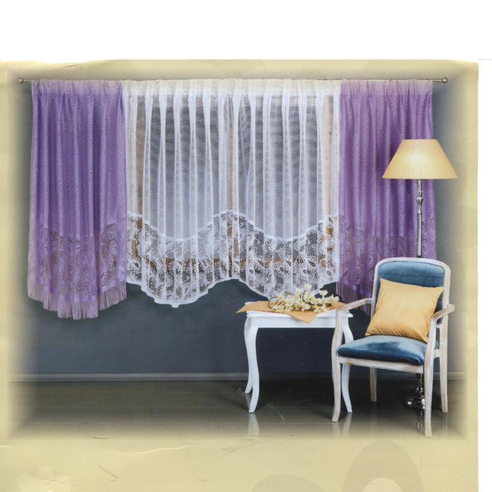 Комплект штор для кухни Wisan, на ленте, цвет: белый, сиреневый, высота 160 см. 5998UN123133180Комплект штор Wisan, изготовленный из легкого полиэстера, станет великолепным украшением кухонного окна. В набор входит 2 шторы сиреневого цвета и тюль белого цвета. Шторы и тюль выполнены из ажурного материала, украшены вышивкой по нижнему краю, шторы декорированы бахромой. Все элементы комплекта на шторной ленте для собирания в сборки.Оригинальный дизайн и приятная цветовая гамма привлекут к себе внимание и органично впишутся в интерьер. Характеристики: Материал: 100% полиэстер. Цвет: белый, сиреневый. Размер упаковки: 38 см х 28 см х 8 см. Производитель: Польша. Изготовитель: Россия. Артикул: 5998.В комплект входит: Штора - 2 шт. Размер (Ш х В): 150 см х 160 см. Тюль - 1 шт. Размер (Ш х В): 300 см х 150 см.