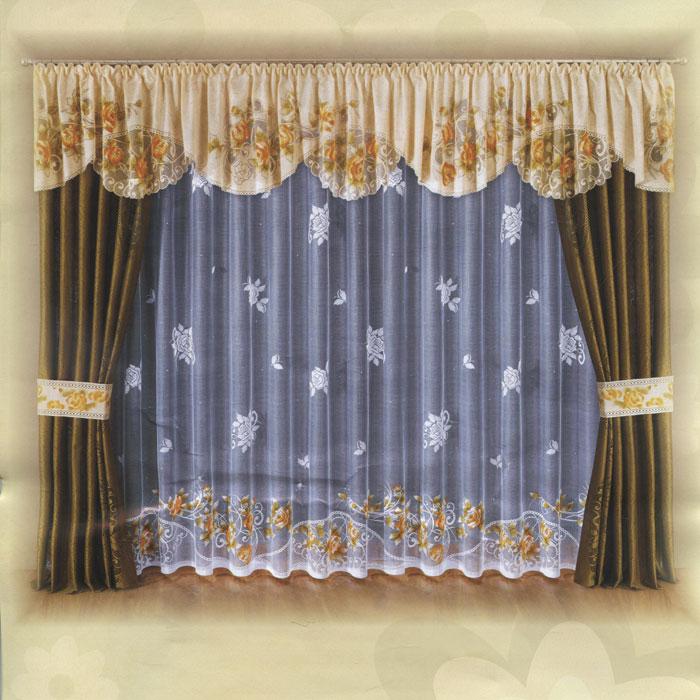 Комплект штор Wisan, на ленте, цвет: бежевый, оливковый, белый, высота 250 см. W007UN123500181Комплект штор Wisan, изготовленный из легкого сетчатого полиэстера, станет великолепным украшением любого окна. В набор входит 2 шторы оливкового цвета, ламбрекен бежевого цвета с цветочным рисунком, тюль белого цвета и два подхвата. Тюль украшен цветочным рисунком, по нижнему краю данный рисунок - бежевого цвета. Для изящного присборивания штор в комплект входят 2 подхвата в тон ламбрекена. Все элементы комплекта на шторной ленте для собирания в сборки.Оригинальный дизайн и приятная цветовая гамма привлекут к себе внимание и органично впишутся в интерьер. Характеристики: Материал: 100% полиэстер. Цвет: бежевый, оливковый, белый. Размер упаковки: 40 см х 30 см х 10 см. Артикул: W007. В комплект входит: Штора - 2 шт. Размер (Ш х В): 140 см х 250 см. Тюль - 1 шт. Размер (Ш х В): 450 см х 250 см. Ламбрекен - 1 шт. Размер (Ш х В): 500 см х 60 см. Похват - 2 шт. Размер (Ш х Д): 17,5 см х 80 см.