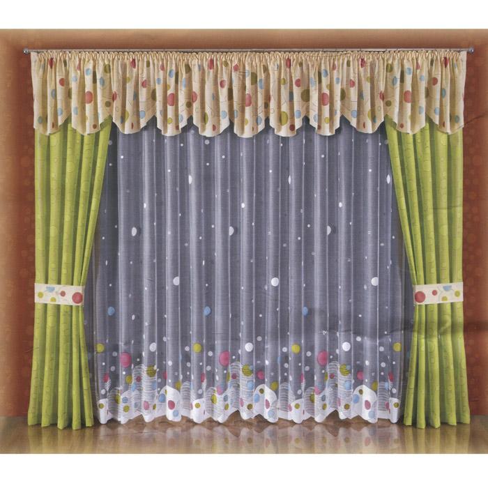 Комплект штор Wisan Kropki, на ленте, цвет: салатовый, бежевый, белый, высота 250 см98299571Комплект штор Wisan Kropki, выполненный из полиэстера, великолепно украсит любое окно. Комплект состоит из двух штор салатового цвета, белого полупрозрачного тюля, ламбрекена и двух подхватов бежевого цвета. Предметы комплекта оформлены узорами в виде кругов.Тонкое плетение, оригинальный дизайн и яркая цветовая гамма привлекут к себе внимание и органично впишутся в интерьер комнаты. Все предметы комплекта - на шторной ленте для собирания в сборки. Характеристики: Материал: 100% полиэстер. Цвет: салатовый, бежевый, белый. Размер упаковки: 38 см х 32 см х 13 см. Артикул: W004.В комплект входят: Штора - 2 шт. Размер (Ш х В): 120 см х 250 см. Тюль - 1 шт. Размер (Ш х В): 500 см х 250 см. Ламбрекен - 1 шт. Размер (Ш х В): 550 см х 55 см. Подхват - 2 шт. Фирма Wisan на польском рынке существует уже более пятидесяти лет и является одной из лучших польских фабрик по производству штор и тканей. Ассортимент фирмы представлен готовыми комплектами штор для гостиной, детской, кухни, а также текстилем для кухни (скатерти, салфетки, дорожки, кухонные занавески). Модельный ряд отличает оригинальный дизайн, высокое качество. Ассортимент продукции постоянно пополняется.