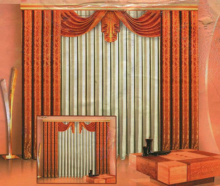 Комплект штор Zlata Korunka, на ленте, цвет: золотисто-бежевый, высота 250 см. Б011790009Комплект штор Zlata Korunka, выполненный из полиэстера, великолепно украсит любое окно. Комплект состоит из двух штор, тюля из белой вуали и ламбрекена.Шторы и ламбрекен выполнены из плотной золотисто-бежевой ткани с жаккардовым рисунком.Воздушная текстура, оригинальный дизайн и нежная цветовая гамма привлекут к себе внимание и органично впишутся в интерьер комнаты. Все предметы комплекта - на шторной ленте для собирания в сборки. Характеристики: Материал: 100% полиэстер. Цвет: золотисто-бежевый. Размер упаковки: 42 см х 29 см х 7 см. Артикул: Б011.В комплект входят: Штора - 2 шт. Размер (Ш х В): 140 см х 250 см. Тюль - 1 шт. Размер (Ш х В): 500 см х 250 см. Ламбрекен - 1 шт. Размер (Ш х В): 90 см х 45 см.УВАЖАЕМЫЕ КЛИЕНТЫ!Обращаем ваше внимание на цвет изделия. Цветовой вариант комплекта, данного в интерьере, служит для визуального восприятия товара. Цветовая гамма данного комплекта представлена на отдельном изображении фрагментом ткани.