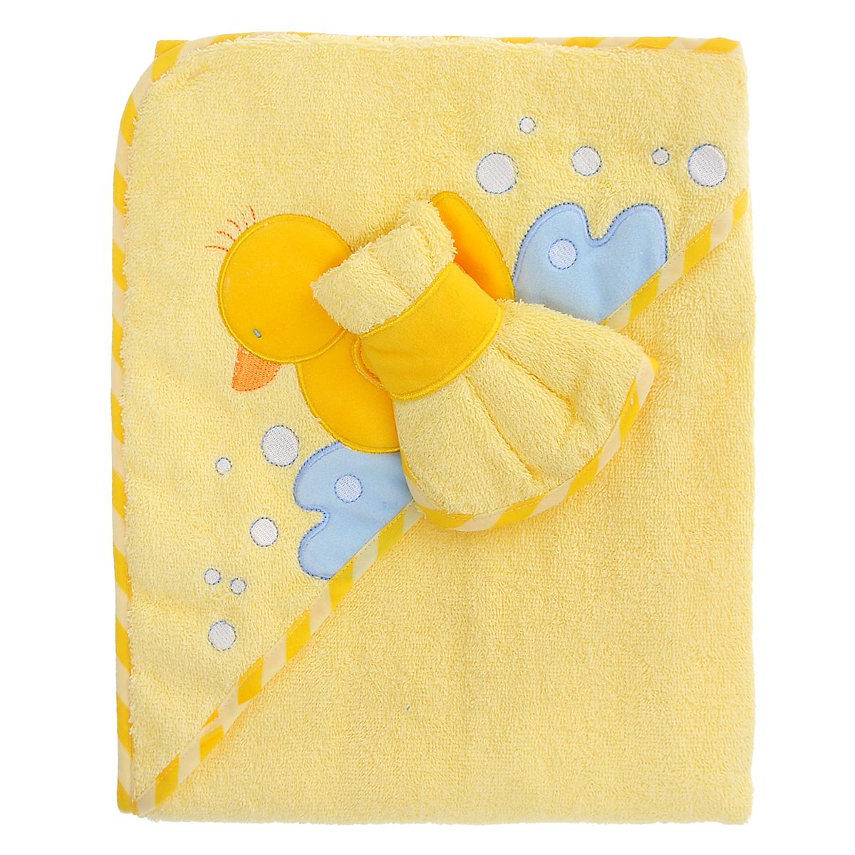 Полотенце с капюшоном  Фенси , с салфеткой, цвет: желтый, 76 см х 90 см - Полотенца