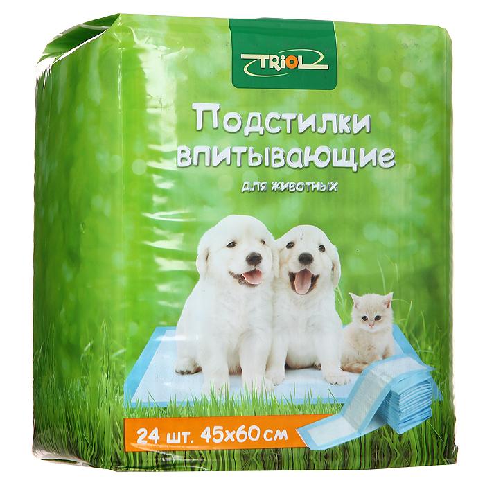 Подстилки для животных впитывающие Triol, для туалета, 45 см х 60 см, 24 штМт-151Подстилки Triol, изготовленные из нежного гипоаллергенного нетканого материала, великолепно подходят для ухода за животными. Полиэтиленовое основание исключает протекание жидкости. Впитывающий слой надежно удерживает влагу и запах. С помощью таких подстилок вы сможете легко приучить своего питомца ходить в туалет в одно место. Также подстилки могут стать отличной заменой наполнителям для туалета.Характеристики:Материал: нетканое волокно, целлюлоза.Размер: 45 см х 60 см.Количество: 24 шт.Артикул: Мт-151.