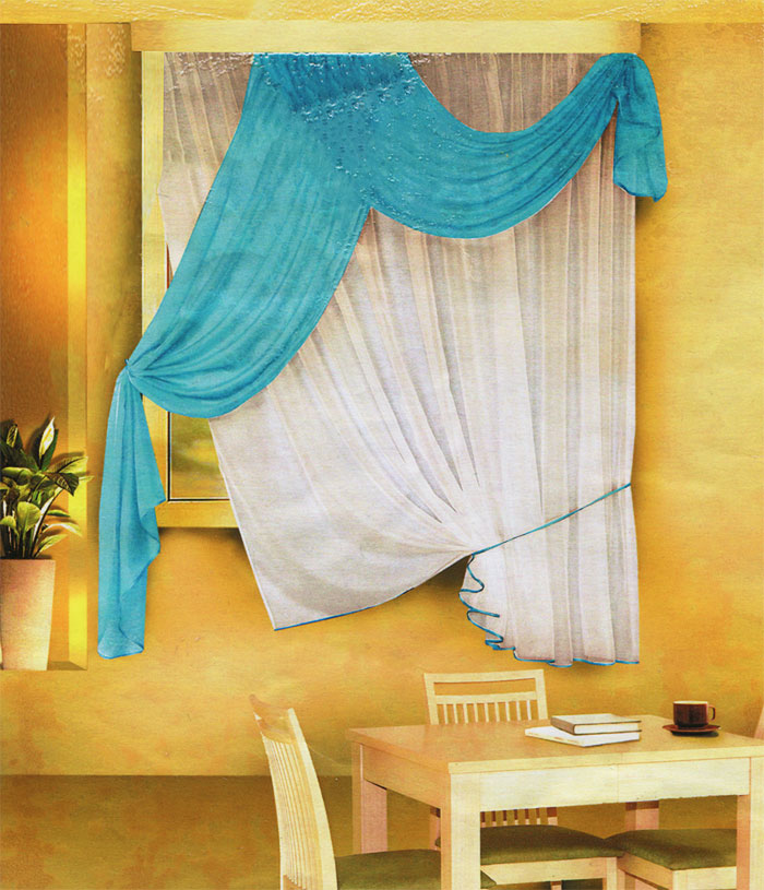 Комплект штор для кухни Zlata Korunka, на ленте, цвет: белый, голубой, высота 170 см. Б066033АКомплект штор Zlata Korunka, изготовленный из легкого полиэстера, станет великолепным украшением кухонного окна. В набор входит тюль белого цвета и ламбрекен голубого цвета. Для более изящного расположения тюля на окне прилагается подхват. Все элементы комплекта на шторной ленте для собирания в сборки.Оригинальный дизайн и приятная цветовая гамма привлекут к себе внимание и органично впишутся в интерьер. Характеристики: Материал: 100% полиэстер. Цвет: белый, голубой. Размер упаковки: 34 см х 28 см х 3 см. Производитель: Польша. Изготовитель: Россия. Артикул: Б066.В комплект входит: Тюль - 1 шт. Размер (Ш х В): 290 см х 170 см. Ламбрекен - 1 шт. Размер (Ш х В): 90 см х 170 см.