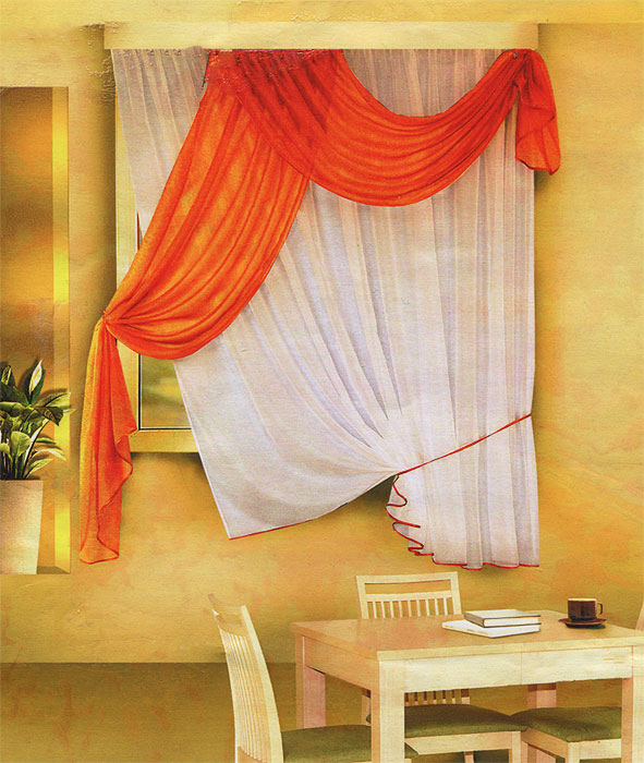 Комплект штор для кухни Zlata Korunka, на ленте, цвет: белый, оранжевый, высота 170 см. Б066K100Комплект штор Zlata Korunka, изготовленные из легкого полиэстера, станут великолепным украшением кухонного окна. В набор входит тюль белого цвета и ламбрекен оранжевого цвета. Для более изящного расположения тюля на окне прилагается подхват. Все элементы комплекта на шторной ленте для собирания в сборки.Оригинальный дизайн и приятная цветовая гамма привлекут к себе внимание и органично впишутся в интерьер. Характеристики: Материал: 100% полиэстер. Цвет: белый, оранжевый. Размер упаковки: 34 см х 28 см х 3 см. Производитель: Польша. Изготовитель: Россия. Артикул: Б066.В комплект входит: Тюль - 1 шт. Размер (Ш х В): 290 см х 170 см. Ламбрекен - 1 шт. Размер (Ш х В): 90 см х 170 см.