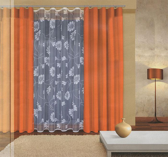 Комплект штор Haft, на ленте, цвет: оранжевый, белый, высота 270 см. 202960/270UN123321625Комплект штор Haft, изготовленный из полиэстера, станет великолепным украшением любого окна. В набор входит 2 шторы оранжевого цвета и тюль белого цвета. Воздушный тюль украшен ажурным цветочным рисунком, шторы выполнены из более плотной по фактуре ткани. Все элементы комплекта на шторной ленте для собирания в сборки.Оригинальный дизайн и приятная цветовая гамма привлекут к себе внимание и органично впишутся в интерьер. Характеристики: Материал: 100% полиэстер. Цвет: оранжевый, белый. Размер упаковки: 50 см х 35 см х 10 см. Артикул: 202960/270. В комплект входит: Штора - 2 шт. Размер (Ш х В): 160 см х 270 см. Тюль - 1 шт. Размер (Ш х В): 300 см х 270 см.