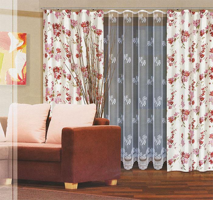 Комплект штор Haft, на ленте, цвет: белый, розовый, высота 270 см. 202770/270391602Комплект штор Haft, изготовленный из полиэстера, станет великолепным украшением любого окна. В комплект входят две шторы и тюль. Полотно штор выполнено из плотной ткани белого цвета с нежным цветочным рисунком. Тюль выполнен из полупрозрачной ткани белого цвета с травянистым узором.Тонкое плетение, оригинальный дизайн и приятная цветовая гамма привлекут к себе внимание и органично впишутся в интерьер. Все элементы комплекта на шторной ленте для собирания в сборки. Характеристики: Материал: 100% полиэстер. Цвет: белый, розовый. Размер упаковки: 46 см х 32 см х 10 см. Артикул: 202770/270.В комплект входят: Штора - 2 шт. Размер (Ш х В): 160 см х 270 см. Тюль - 1 шт. Размер (Ш х В): 500 см х 270 см. Польская фирма Haft является одним из лидеров на рынке производства штор и скатертей. Модельный ряд отличает оригинальный дизайн, высокое качество.