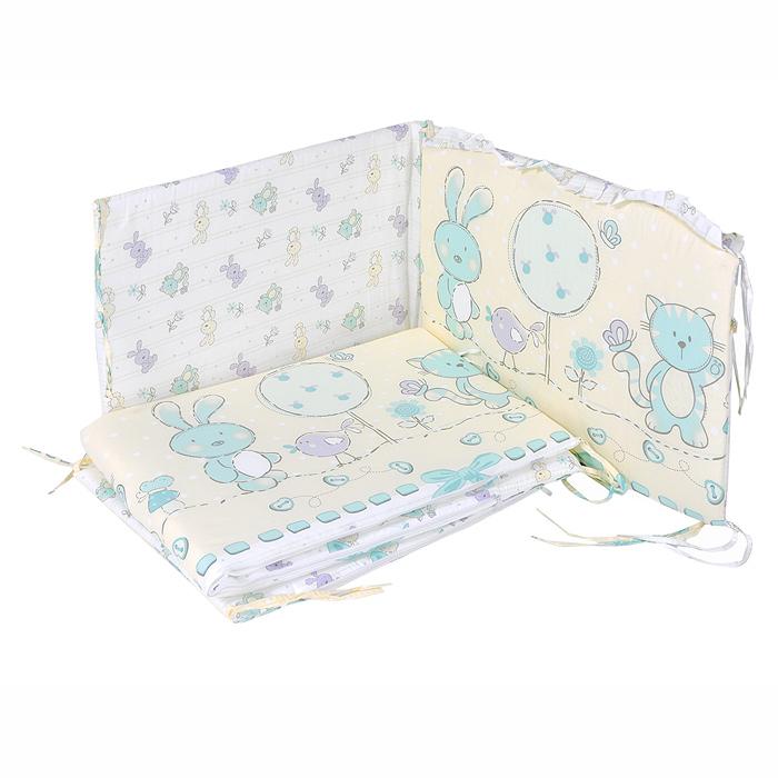 """Бампер в кроватку """"Акварель"""" состоит из четырех частей и закрывает весь периметр кроватки. Бортик крепится к кроватке с помощью специальных завязок, благодаря чему его можно поместить в любую детскую кроватку. Бампер выполнен из бязи - натурального хлопка безупречной выделки. Деликатные швы рассчитаны на прикосновение к нежной коже ребенка. Бампер оформлен оборками и изображениями зайчонка, птички и котика. Наполнителем служит холлкон - эластичный синтетический материал, экологически безопасный и гипоаллергенный, обладающий высокими теплозащитными свойствами. Бампер защитит ребенка от возможных ударов о деревянные или металлические части кроватки. Чехлы на молнии легко снимаются для стирки. Бортик подходит для кроватки размером 120 см х 60 см."""