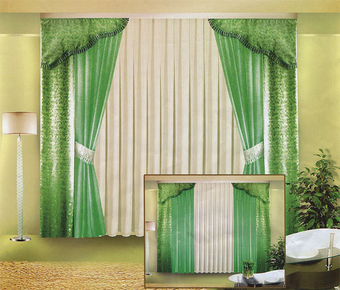Комплект штор Zlata Korunka, на ленте, цвет: белый, зеленый, высота 250 смK100Комплект штор Zlata Korunka великолепно украсит любое окно. Комплект состоит из четырех штор, тюля и двух ламбрекенов. Для более изящного расположения штор предусмотрены подхваты. Тюль и две шторы выполнены из вуалевой ткани, две другие шторы и ламбрекены изготовлены из жаккарда зеленого цвета с изящным рисунком. Ламбрекены и подхваты оформлены бахромой. Оригинальный дизайн и контрастная цветовая гамма привлекут к себе внимание и органично впишутся в интерьер комнаты. Все предметы комплекта оснащены шторной лентой для собирания в сборки. Характеристики:Материал: 100% полиэстер. Цвет: белый, зеленый. Размер упаковки: 29 см х 42 см х 7 см. Артикул: Б015. В комплект входит: Штора - 2 шт. Размер (ШхВ): 40 см х 250 см. Штора - 2 шт. Размер (ШхВ): 140 см х 250 см. Тюль - 1 шт. Размер (ШхВ): 500 см х 250 см. Ламбрекен - 2 шт. Размер (ШхВ): 40 см х 90 см. Подхват - 2 шт.