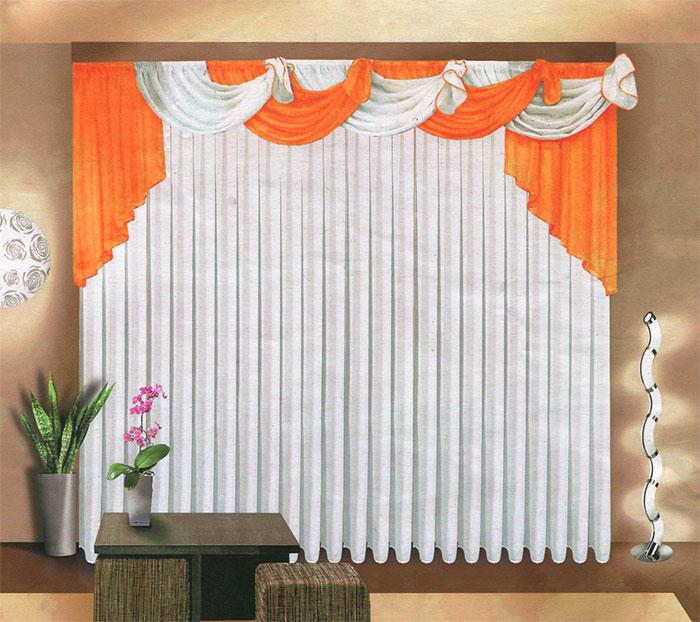 Комплект штор Zlata Korunka, на ленте, цвет: белый, оранжевый, высота 250 смGC013/00Комплект штор Zlata Korunka великолепно украсит любое окно. Комплект состоит из белого тюля и оранжевого ламбрекена. Предметы комплекта выполнены из вуалевой ткани.Оригинальный дизайн и контрастная цветовая гамма привлекут к себе внимание и органично впишутся в интерьер комнаты. Все предметы комплекта оснащены шторной лентой для собирания в сборки. Характеристики:Материал: 100% полиэстер. Цвет: белый, оранжевый. Размер упаковки: 32 см х 36 см х 8 см. Артикул: Б067. В комплект входит: Тюль - 1 шт. Размер (ШхВ): 500 см х 250 см. Ламбрекен - 1 шт. Размер (ШхВ): 720 см х 100 см.