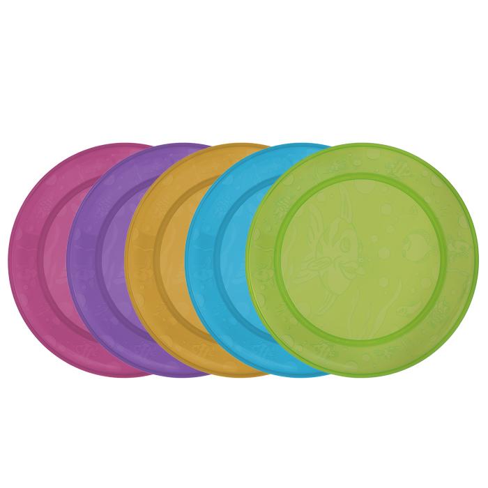Набор детских тарелок Munchkin, 5 шт54 009312Детские тарелки Munchkin, выполненные из безопасного пластика (не содержит бисфенол А), прекрасно подойдут для кормления малыша и самостоятельного приема им пищи. В набор входят пять плоских тарелочек разных цветов. Ониукрашены дизайнерским рисунком в виде рыб, чтобы добавить удовольствия в любое блюдо, которые вы готовите. Кредо Munchkin, американской компании с 20-летней историей: избавить мир от надоевших и прозаических товаров, искать умные инновационные решения, которые превращает обыденные задачи в опыт, приносящий удовольствие. Понимая, что наибольшее значение в быту имеют именно мелочи, компания создает уникальные товары, которые помогают поддерживать порядок, организовывать пространство, облегчают уход за детьми - недаром компания имеет уже более 140 патентов и изобретений, используемых в создании ее неповторимой и оригинальной продукции. Munchkin делает жизнь родителей легче! Характеристики:Рекомендуемый возраст: от 6 месяцев. Размер тарелок: 19 см х 19 см х 1,5 см. Размер упаковки: 19 см х 23 см х 3 см. Изготовитель: Китай.