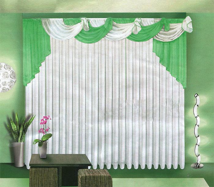 Комплект штор Zlata Korunka, на ленте, цвет: салатовый, белый, высота 250 см. Б067UN111838690Комплект штор Zlata Korunka, изготовленный из легкого полиэстера, станет великолепным украшением любого окна. В набор входит тюль белого цвета и ламбрекен бело-салатового цвета. Тюль и ламбрекен выполнены из полупрозрачной вуали. Все элементы комплекта на шторной ленте для собирания в сборки.Оригинальный дизайн и приятная цветовая гамма привлекут к себе внимание и органично впишутся в интерьер. Характеристики: Материал: 100% полиэстер. Цвет: салатовый, белый. Размер упаковки: 36 см х 30 см х 5 см. Артикул: Б067. В комплект входит: Тюль - 1 шт. Размер (Ш х В): 500 см х 250 см. Ламбрекен - 1 шт. Размер (Ш х В): 720 см х 100 см.