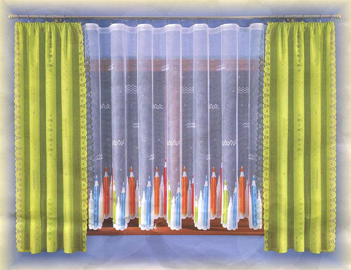 Комплект штор Wisan Kredki, на ленте, цвет: салатовый, высота 190 смS03301004Комплект штор Wisan Kredki, выполненный из полиэстера, великолепно украсит любое окно. Комплект состоит из двух штор и тюля. Шторы выполнены из полупрозрачной ткани салатового цвета и декорированы оригинальными узорами. Белый тюль с фигурными краями декорирован ярким принтом в виде цветных карандашей.Тонкое плетение, оригинальный дизайн и нежная цветовая гамма привлекут к себе внимание и органично впишутся в интерьер комнаты. Все предметы комплекта - на шторной ленте для собирания в сборки. Характеристики: Материал: 100% полиэстер. Цвет: салатовый. Размер упаковки: 35 см х 25 см х 8 см. Артикул: W005.В комплект входят: Штора - 2 шт. Размер (Ш х В): 120 см х 190 см. Тюль - 1 шт. Размер (Ш х В): 300 см х 170 см. Фирма Wisan на польском рынке существует уже более пятидесяти лет и является одной из лучших польских фабрик по производству штор и тканей. Ассортимент фирмы представлен готовыми комплектами штор для гостиной, детской, кухни, а также текстилем для кухни (скатерти, салфетки, дорожки, кухонные занавески). Модельный ряд отличает оригинальный дизайн, высокое качество. Ассортимент продукции постоянно пополняется.