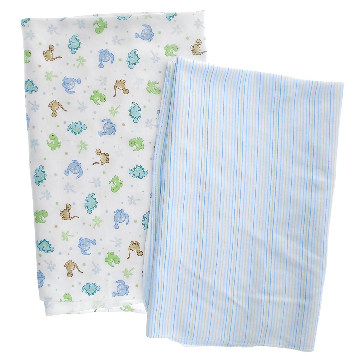 Набор пеленок Spasilk Дино, для мальчика, цвет: голубой, 76 см х 101 см, 2 штRB SWAD 02Набор пеленок для новорожденного Spasilk Дино станет незаменимым помощником в уходе за ребенком. Пеленку также можно использовать как легкое одеяло, простынку, полотенце после купания, солнечный козырек, накидку для кормления грудью или как согревающий компресс при коликах. Пеленки изготовлены из стопроцентного хлопка, благодаря чему они мягкие, приятные на ощупь и абсолютно безопасны для малыша. В набор входят две пеленки: в голубую и салатовую полоски и оформленная изображениями динозавриков. Характеристики: Материал: 100% хлопок. Размер пеленки: 76 см x 101 см. Изготовитель: Китай.