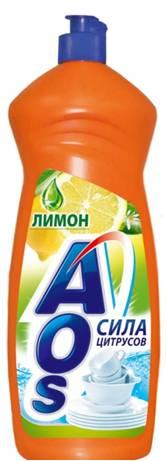 Жидкость для мытья посуды AOS Лимон, 1 л бытовая химия aos средство для мытья посуды 2 в 1 глицерин 1 л
